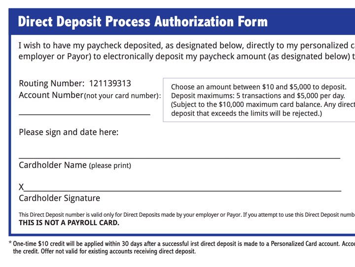 Direct Deposit Authorization Form Screenshot