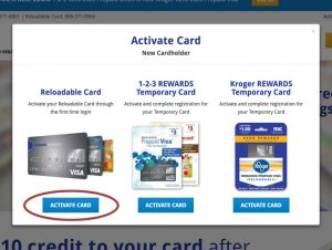Activate card modal screenshot