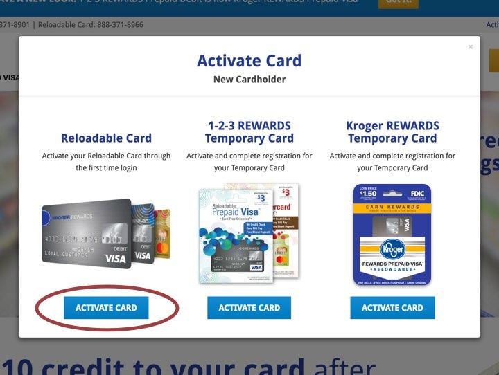 Activate card modal screenshot