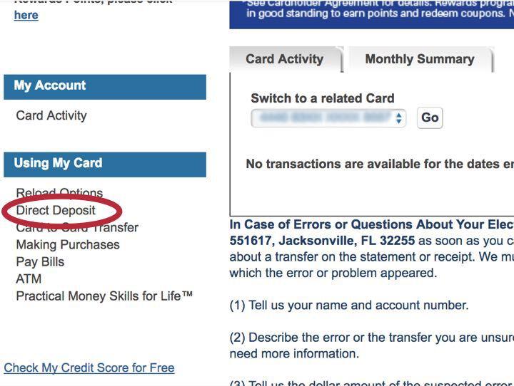 direct deposit setup link screenshot