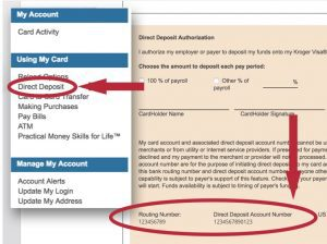 Direct deposit sign up with account number circle